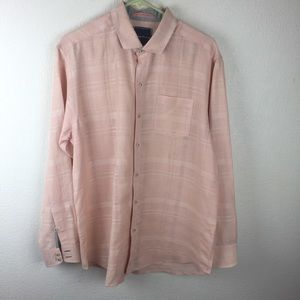 Men's Tommy Bahama Linen Pink Button Down Shirt M